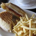 Roasted Chicken Panini w/ Swiss Cheese, Roasted Bell Pepper, Sundried Tomato & Chipotle Mayo