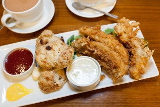 Beer Battered Fish and Garlic Parmesan Biscuits at Eclipse Chocolate