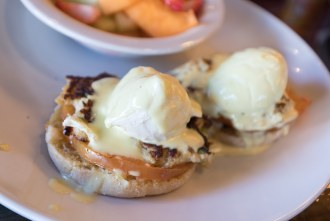 Crab Cake Benedict at Farmer's Table Bay Park in San Diego
