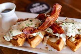 Buttermilk Fried Chicken and Malted Ale Waffles at Jimmy's Famous American Tavern in San Diego