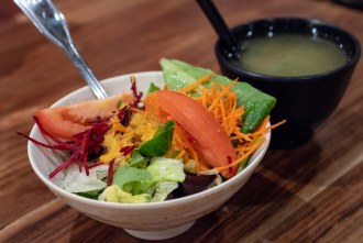 Side of Salad and Miso Soup at Little Sakana in Mira Mesa Mall