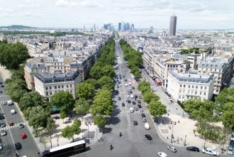 view from Arc de Triomphe in Paris France