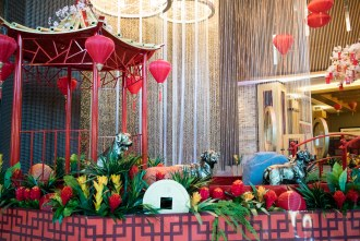 beautiful decorations to celebrate lunar new year at Pechanga Resort and Casino in Temecula