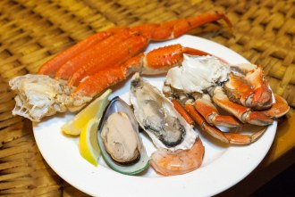crab legs and shellfish at Lobster Seafood Buffet at Pechanga Resort and Casino in Temecula