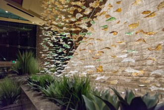 waterfall of shimmering leaves at Pechanga Resort and Casino in Temecula