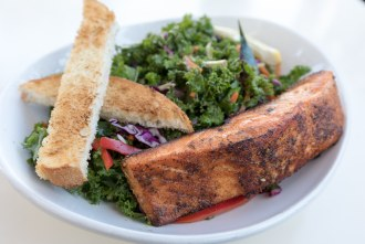Kale and Salmon Salad at Queenstown Bistro in San Diego