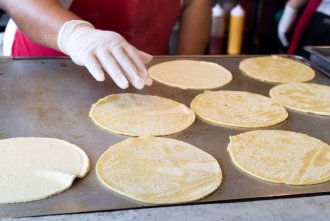 fresh made corn tortillas at The Taco Stand in North Park of San Diego