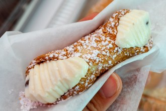 A Very Aunt Mary cannoli at the farmer's market