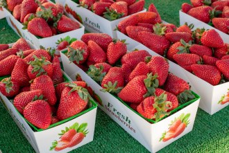 ripe strawberries at the Del Mar Farmer's Market