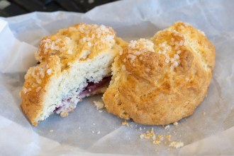 Mixed Berry Scone from French Oven bakery in San Diego