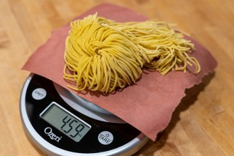 Single serving of ramen on a weight scale