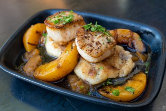 Peaches and Scallops at Louisiana Purchase in San Diego