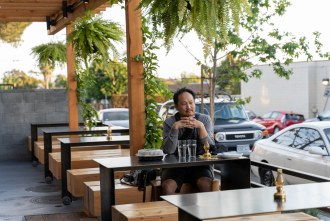 Outdoor seating at Louisiana Purchase in San Diego
