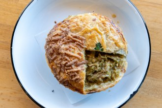 Green Hog and Cheese Pot Pie at Pop Pie Company in San Diego