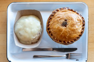 Mashed Potatoes and Gravy and Steak and Ale Pot Pie at Pop Pie Company in San Diego