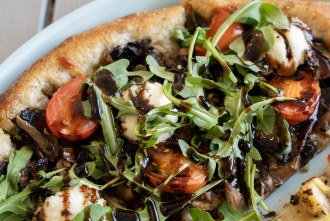 Mushroom Pizza at Pizza Powerhaus Wholesome Pizza and Eats in Pacific Becah San Diego