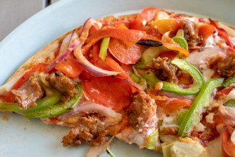 Beyond Meat Pizza at Pizza Powerhaus Wholesome Pizza and Eats in Pacific Becah San Diego