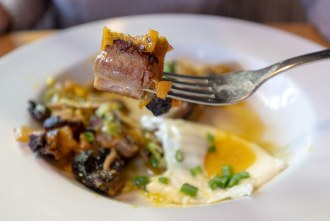 pork belly closeup of ABC Hash at Toast Gastrobrunch in Carlsbad