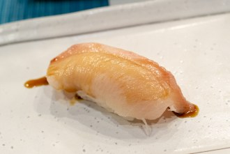 Japanese yellowtail course during omakase at Too Sushi Project