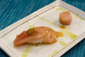 Canadian Albacore course during omakase at Too Sushi Project