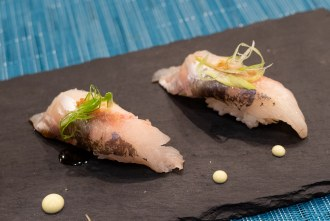 Spanish mackerel course during omakase at Too Sushi Project