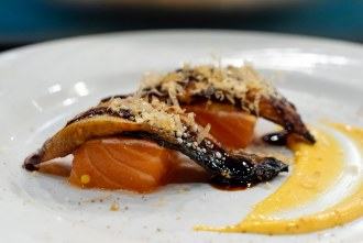 Norwegian salmon and River eel course during omakase at Too Sushi Project