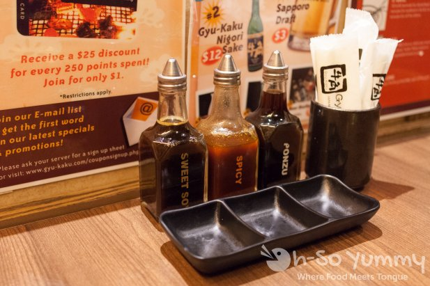 Gyu-Kaku Japanese BBQ - Sweet Soy, Spicy, and Ponzu dipping sauces