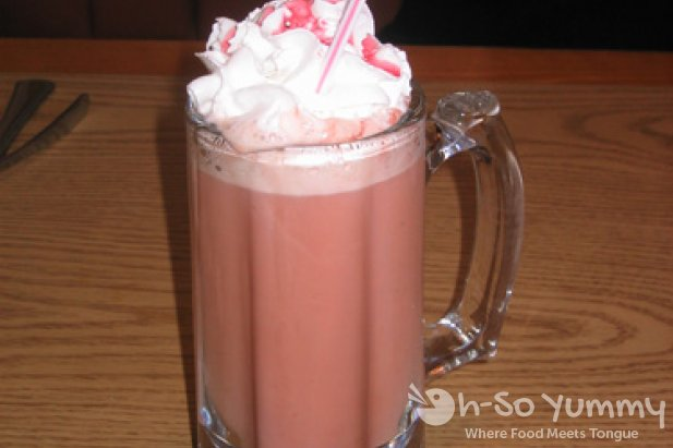 Some kind of raspberry coffee drink