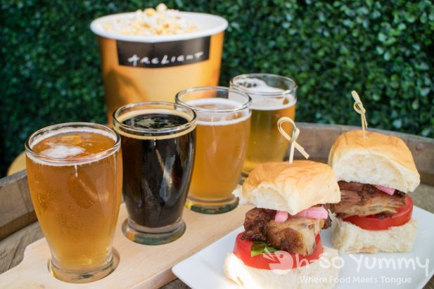 flight of Stone Brewing Co. beers and sliders at ArcLight on Tap in La Jolla CA