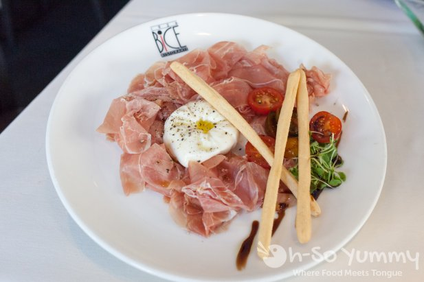 burrata and prosciutto at BiCE Ristorante in downtown San Diego