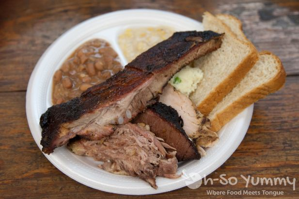 pork ribs, brisket, beans, creamed corn at Harmon's Bar-B-Q Catering