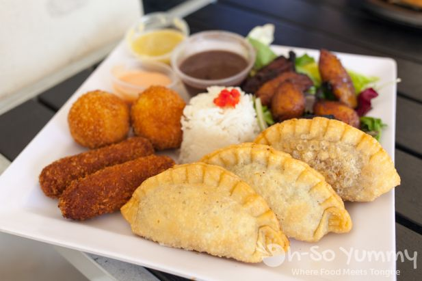 Craving sampler with chicken cilantro, beef, and veggie empanadas at Havana Kitchen in Temecula old town