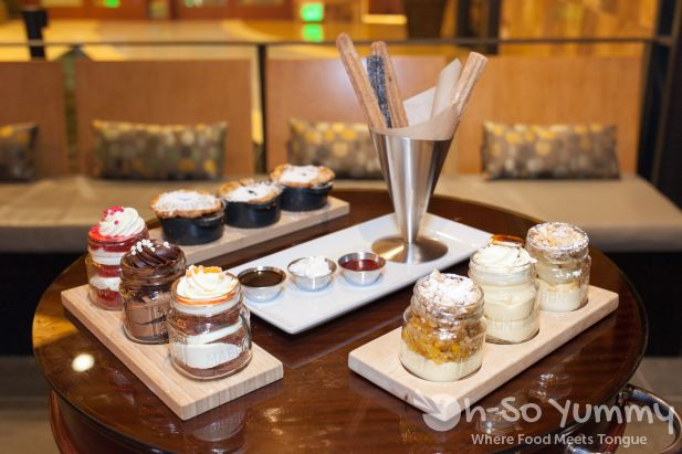 dessert station outside of Kelsey's Bar and Grill at Pechanga