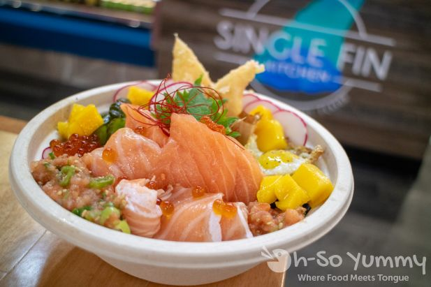 Salmon 360 Donburi at Single Fin Kitchen inside Atlas Market in Poway