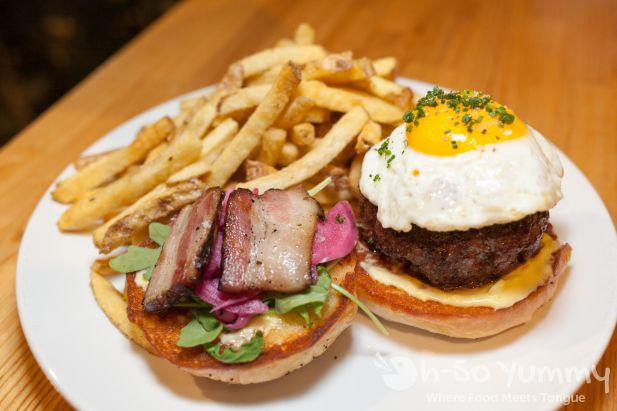 Wood Grilled Burger at Trust restaurant in San Diego