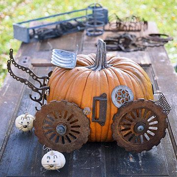 steampunk pumpkin carriage idea from better homes and gardens