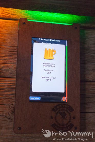 beer status on screen at Barrel Republic in Carlsbad