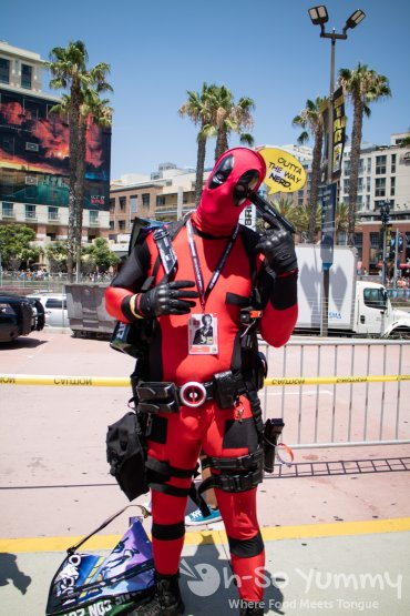 Deadpool outside of San Diego Comic Con 2017