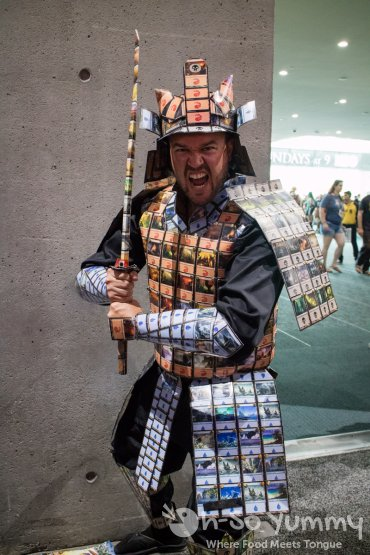 Warrior dressed in Magic the Gathering cards at San Diego Comic Con 2017