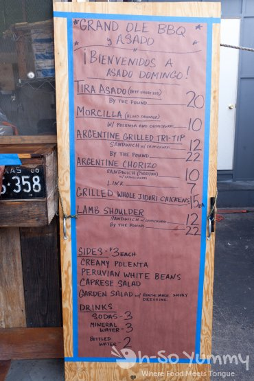 Sunday menu at Grand Ole BBQ Y Asado