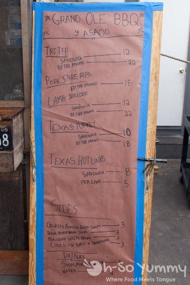 lunch menu at Grand Ole BBQ Y Asado