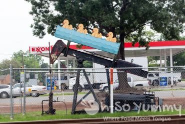 decorative oil rigs by Luling City Market