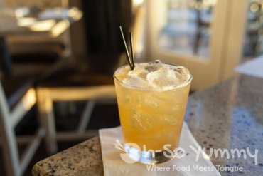 peach bourbon drink at Tidal seasonal craft and catch in San Diego