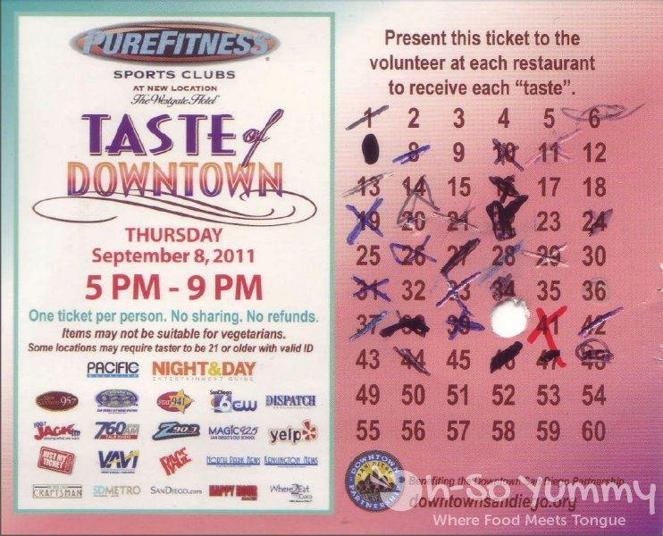 Taste of Downtown San Diego 2011 - ticket