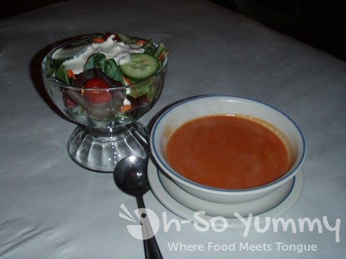 Salad and Tomato Red Pepper Soup