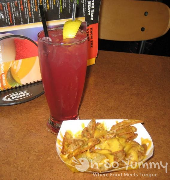 Huckleberry Lemonade and Potato Wedges with Cheese