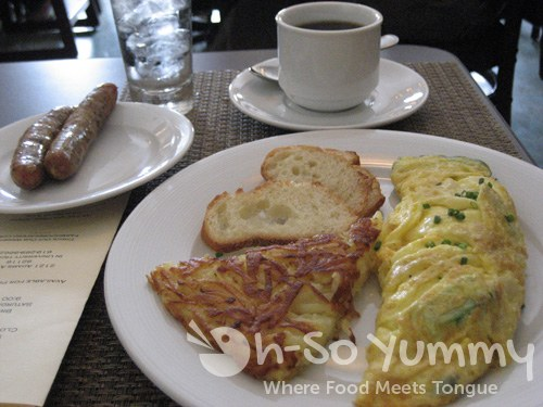 Farm House Cafe Omelet with a side of Chicken Apple Sausage