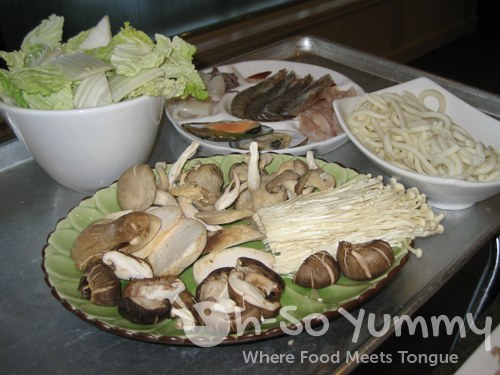 Napa Cabbage, Seafood Combo Platter, Udon Noodles, and Assorted Mushroom Platter