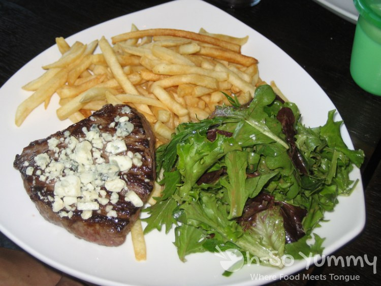 Certified Angus Top Sirloin with Bleu Cheese Crumble, French Fries and Salad