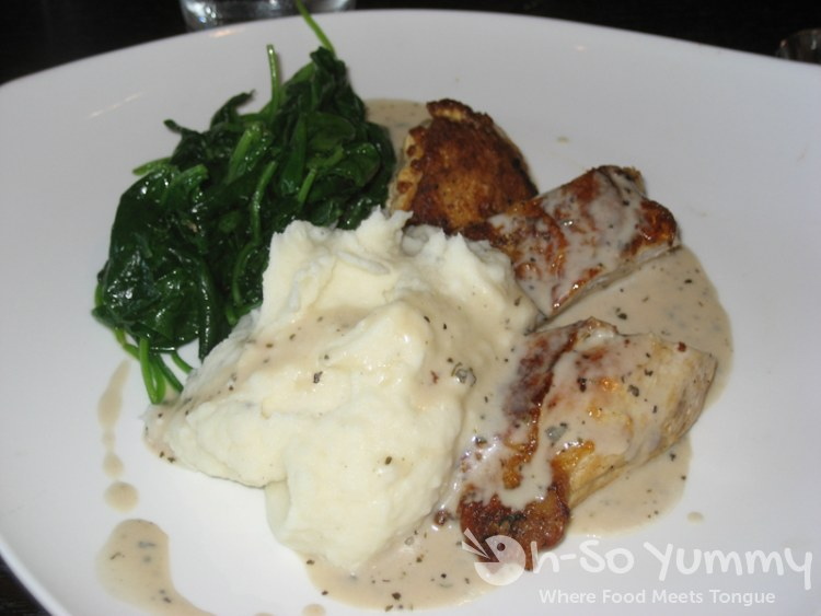 Roasted Chicken Breast with Mashed Potatoes and Fresh Sauteed Spinach